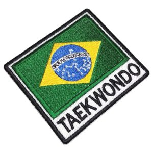 Taekwondo Bandeira Brasil Patch Bordado Para Kimono Jaqueta