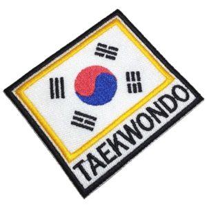 Taekwondo Bandeira Coreia do Sul Patch Bordado Fecho Contato Gancho