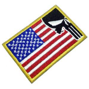 Bandeira EUA Justiceiro Patch Bordado Para Uniforme Boné