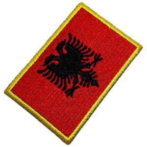 Bandeira País Albânia Patch Bordada Termo Adesivo Para Roupa