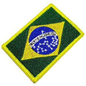 Bandeira País Brasil Patch Bordada Fecho Contato Para Roupa